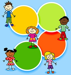 Cartoon kids and color circles vector