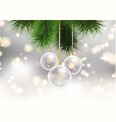 christmas baubles on bokeh lights background vector image vector image
