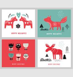 Christmas holidays greeting cards vector