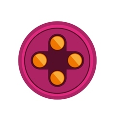 Circular shape with yellow buttons for games vector