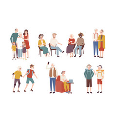 collection of happy elderly people performing vector image vector image