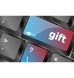 Computer keyboard with gift key - business vector image