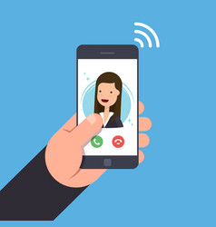 concept of an incoming call on a mobile phone vector image vector image