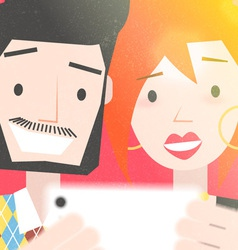Dating young couple taking a selfie photo vector