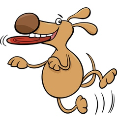 dog with frisbee cartoon vector image