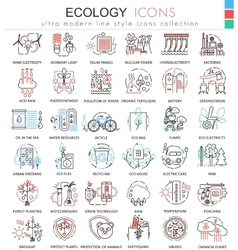 Ecology color line outline icons for apps vector image vector image