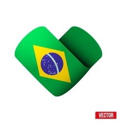 Flag icon in the form of heart I love Brazil vector image