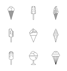 Frozen sweets icons set outline style vector