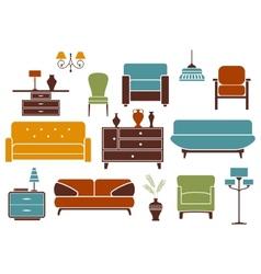 Furniture and interior design elements vector image