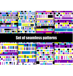 Glitch seamless patterns signal error pixel vector