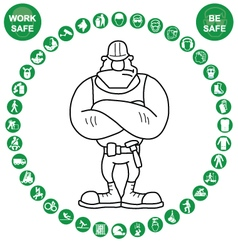 Green circular health and safety icon collection vector