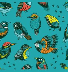 hand drawn tropical bird pattern vector image
