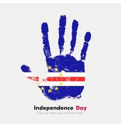 Handprint with the flag of cape verde in grunge vector