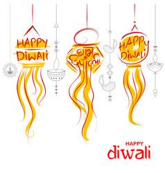 hanging kandil diwali holiday background for light vector image