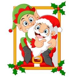 Happy santa hold elf cartoon vector