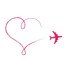 Heart shaped icon in air made by plane vector