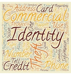 identity theft commercial text background vector image vector image