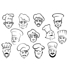 Multiethnic chefs in toques in sketch style vector image