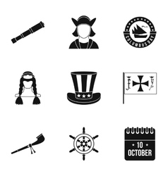 Pioneer icons set simple style vector