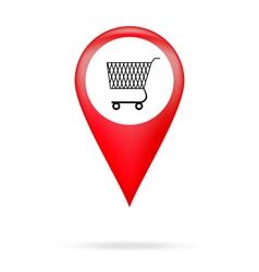 Pointer to shopping basket vector