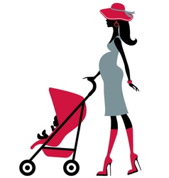 Pregnant woman with child in a stroller vector