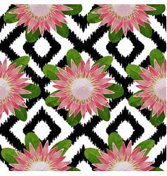 Protea boho seamless pattern vector