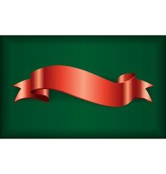 Red ribbon satin bow green vector image