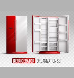 Refrigerator organization on transparent vector