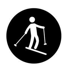 silhouette of athlete practicing ski vector image