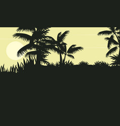 Silhouette of palm tree on jungle scenery vector