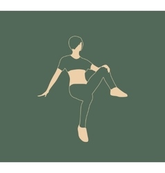 Sporty woman sits on a floor vector image vector image