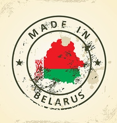 Stamp with map flag of belarus vector