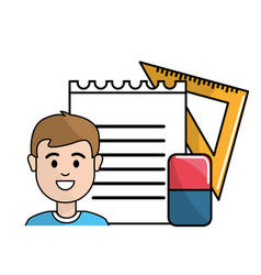 Student with notebook papper eraser and triangle vector