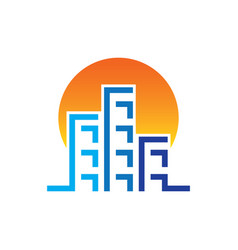 Sunset skyscrapers building contruction logo vector