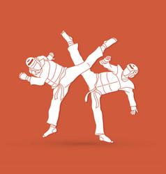 Taekwondo fighting vector