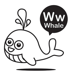 W Whale cartoon and alphabet for children to vector image