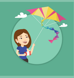 young woman flying kite vector image