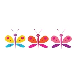 funny butterflies on a white background vector image