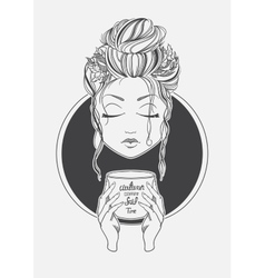 Girl drinking coffee Black and White print line vector image