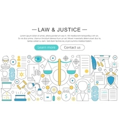 Modern line flat design law and justice vector