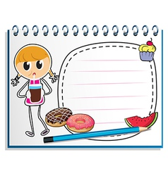 A notebook with a drawing of a girl with a juice vector image