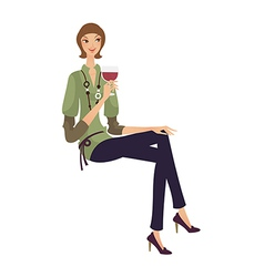 Woman with wine glass vector