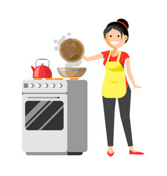 smiling housewife standing near cooker prepares vector image