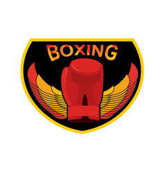 Boxing logo gloves and wings emblem for sports vector