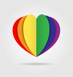 Rainbow heart icon logo on white background vector