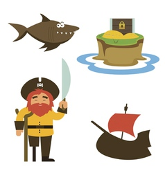 Treasure island characters vector