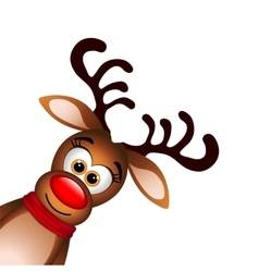 Funny reindeer on white background vector