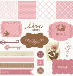 Scrapbook design elements - vintage love set vector