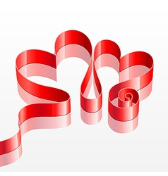 Heart shaped red ribbon vector