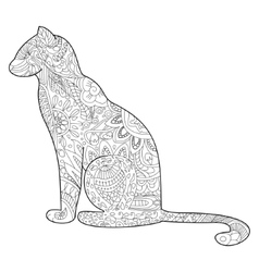 Cat coloring for adults vector